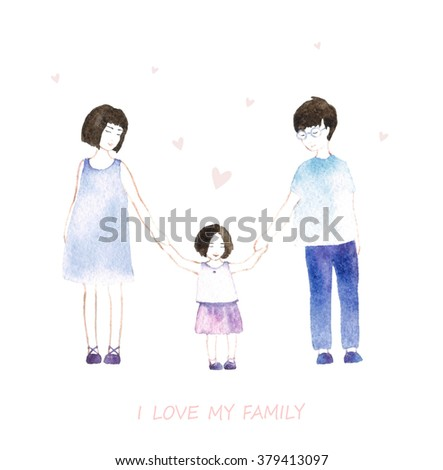 I love my family. Cute illustration with mother, father, daughter. Happy parents and children #379413097