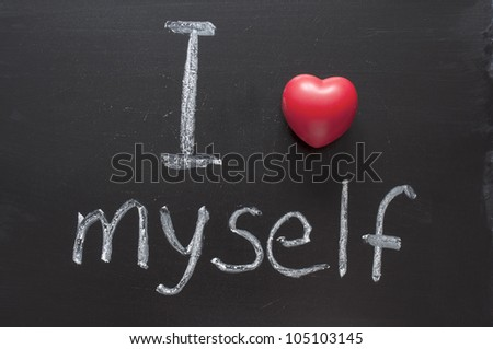 I love myself phrase handwritten on the school blackboard