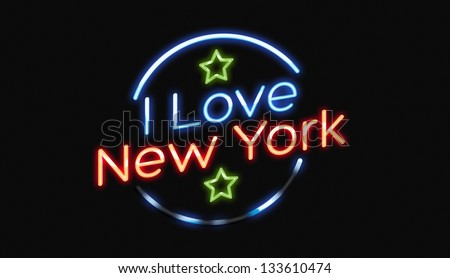 I Love New York neon sign with green stars
