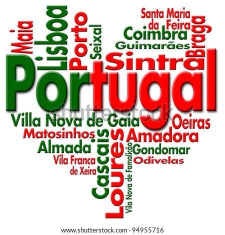 I Love Portugal Written Portugal and portuguese cities with heart-shaped, portuguese flag colors