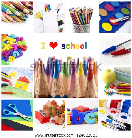 I love school - collage - stock photo