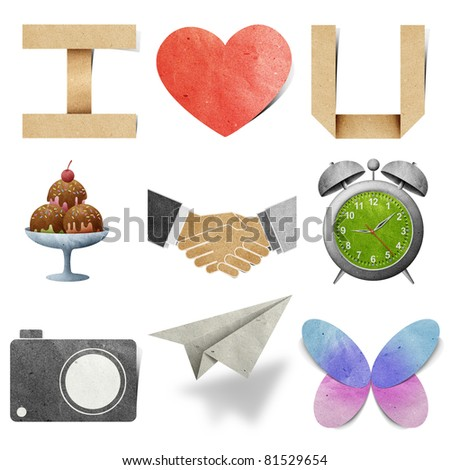 I  love tag recycled paper craft stick on white background