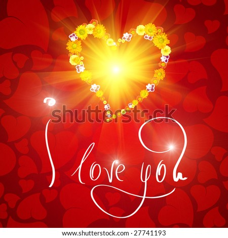 I love you. Card for Valentines day with small heart from flowers - stock photo