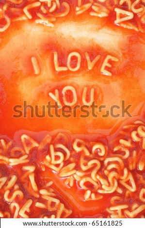 I love you concept with red pasta food