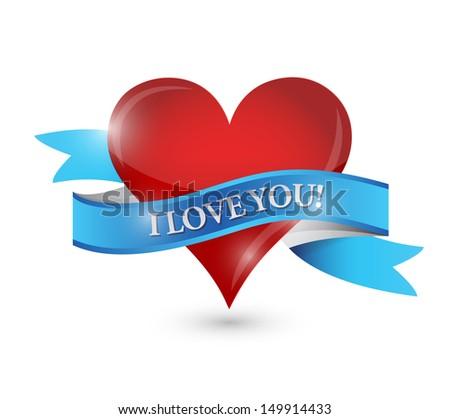 I love you heart illustration design over a white background