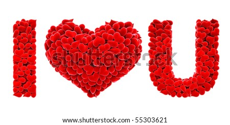 i love you is made of the hearts of velvet. with clipping path.