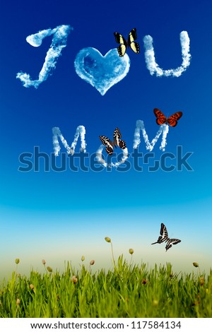 I love you Mom greeting card, cloud letters on blue sky