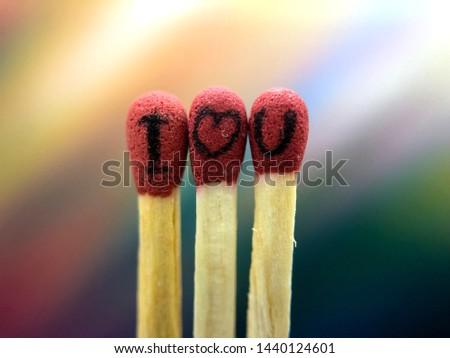 I Love You on Match Sticks - Match Sticks Art - Match Sticks Art