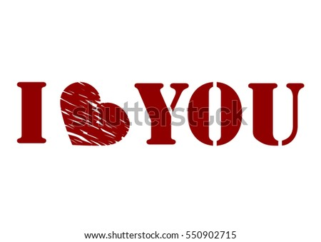I love you words of love, sentence, Valentine's day abstract with  a text  - illustration