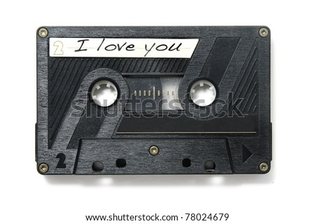 I love you written in the label of a tape on a white background