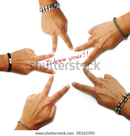 i love you written on a white background with hands drawing a star