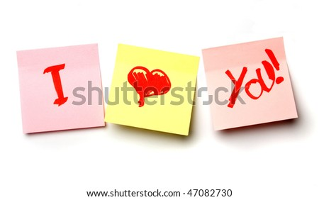 love you notes. stock photo : I love You