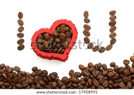 I love you written with brown coffee-beans