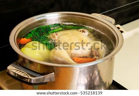 I make chicken broth in a pot chicken broth #535218139