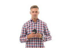 I need caffeine. Handsome man hold takeaway cup isolated on white. Coffee caffeine. Caffeine drink. Caffeine and energy. Morning breakfast habit routine