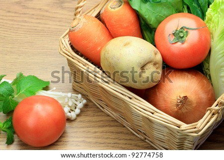 I put various vegetables in a basket and took it .