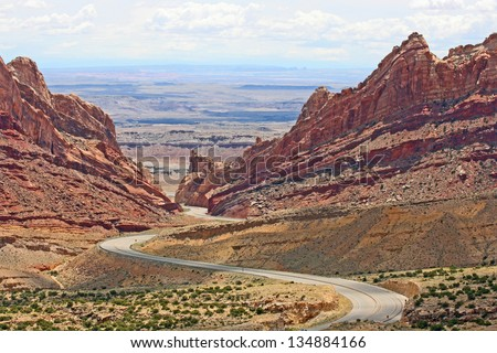 I-70 snaking through Spotted Wolf Canyon, Utah