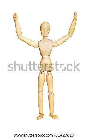 I surrender! Wooden figure with hands raised