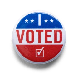 I Voted Button Pin USA Cut Out.