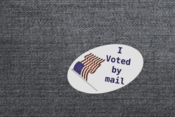 I Voted by mail sticker as concept for voting by mail or absentee ballot paper