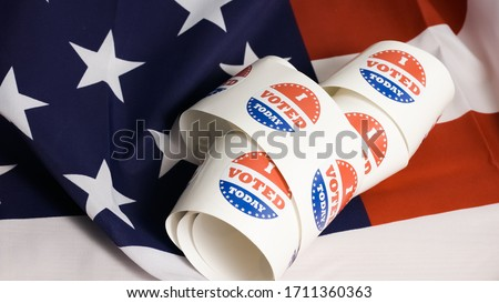 I voted today stickers with US flag at presidential elections
