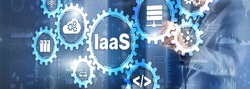 IaaS Infrastructure as a Service. Blue Online Gear Internet and networking concept.