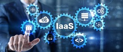 IaaS Infrastructure as a Service. Blue Online Gear Internet and networking concept