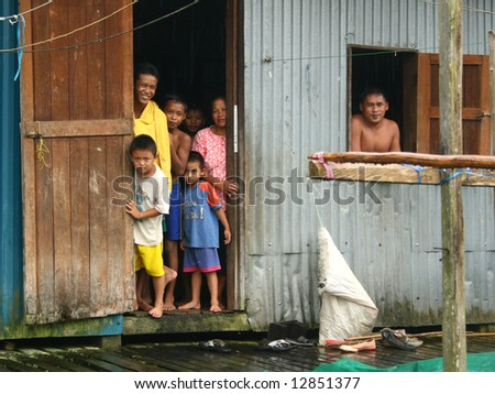 iban longhouse family