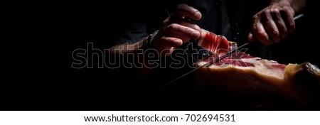 Iberian ham cutter, long banner format Photo stock ©