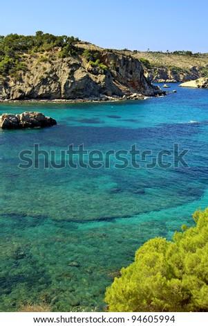 Ibiza island coast with clear turquise sea