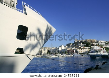Ibiza landmark island in Mediterranean sea, blue harbor view