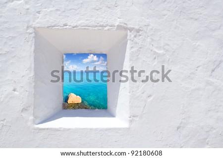 Ibiza mediterranean white wall window with Formentera beach view [ photo-illustration ]