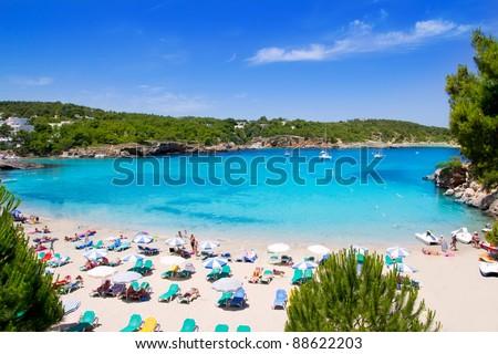 Ibiza Portinatx turquoise beach paradise in Balearic Islands