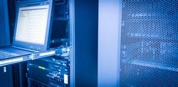 IBM server mount on rack in data center