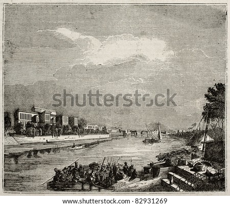 Ibrahim Pacha Palace old view from the Nile, Cairo. By unidentified author, published on Magasin Pittoresque, Paris, 1840