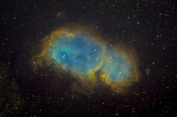 IC1848 nebula also know as Soul in HST palette taken with dedicated astrophotography camera on the telescope