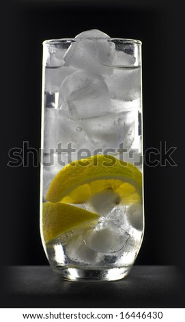 ice and lemon in sparkling water