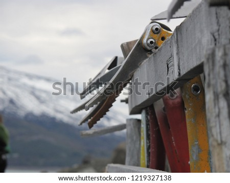 Ice axes wait to be used during expeditions in Patagonia, Argentina
