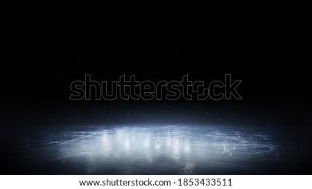 Ice. Beautiful ice background. Realistic ice and snow on dark background. Winter background. Reflection. 3D rendering