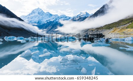 ice berg floating in the lake at mt.cook