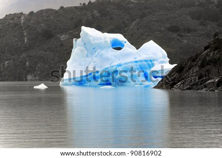 Ice berg, Torres del Paine, Chili is probably the world\'s most spectacular national park. An unrivalled landscape of mad jagged peaks, impossibly blue lakes, deserted pampas and iceberg-loaded rivers
