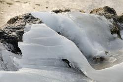 ice between the rocks