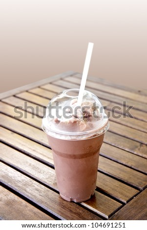 ice blended chocolate on the table