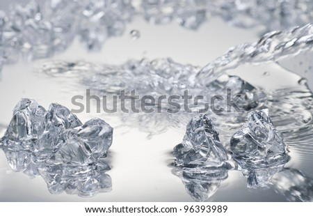 Ice blocks over wet surface #96393989