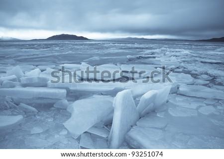 Ice Braking up on Utah Lake
