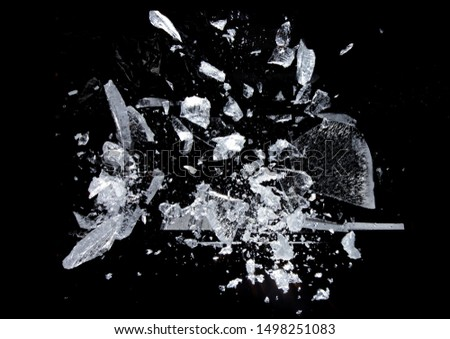 Ice broken. isolated on a black background.