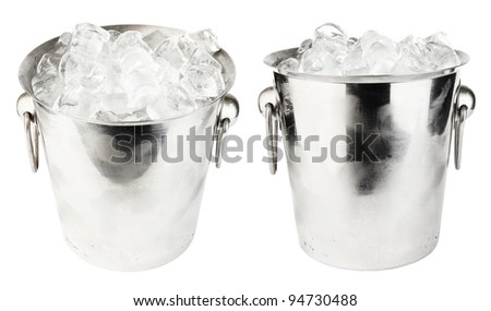 ice bucket isolated on white background - stock photo