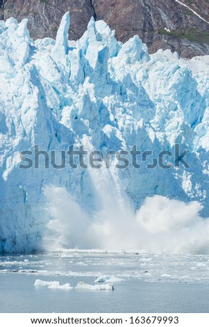 Ice calving at the Margerie Glacier