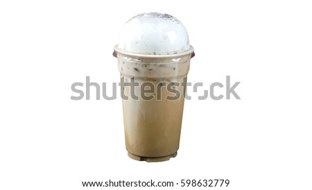 Ice cappuccino coffee isolated, on white background. Foam milk on top. #598632779