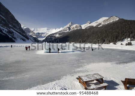 Ice Castle, Mount Victoria and a frozen Lake Louise, Banff National Park, Lake Louise, Alberta, Canada